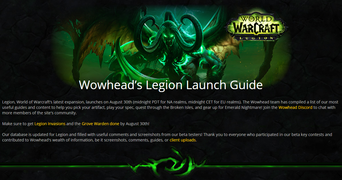Legion confirmed time for release - blog