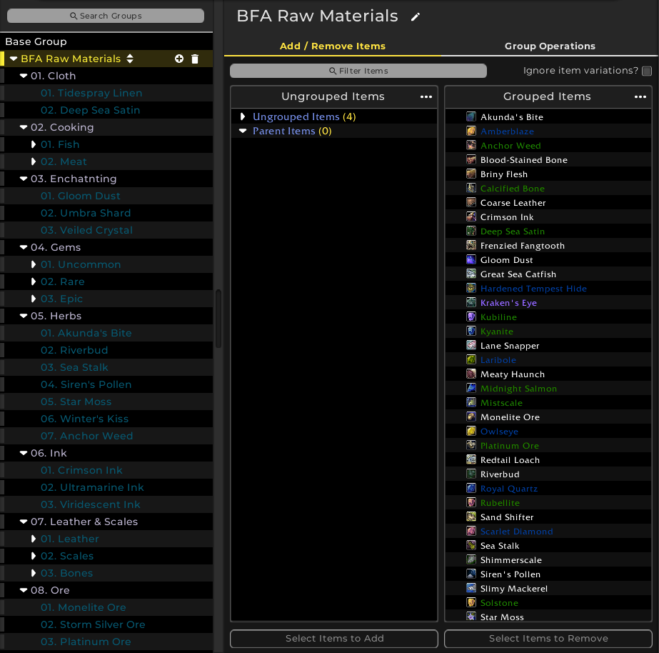 BFA TSM4 Raw Material String | Grahran's WoW Gold